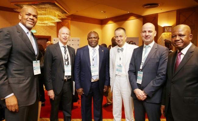 L-R: Lagos State Governor, Mr. Akinwunmi Ambode (3rd left); Nigerian-German Business Associate, Mr. Justin Chuma Anosike; Consul General of Germany, Mr. Ingo Herbert; German Ambassador to Nigeria, Mr. Bernard Schlagheck; Head, Delegation of the German Industry & Commerce to Nigeria, Dr. Marc Lucassen and Managing Director, Coscharis, Mr. Josiah Samuel