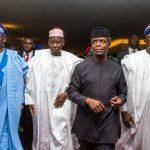 L-R: Bola Ahmed Tinubu; Gov Abdullahi Umar Ganduje of Kano State; H.E. Vice President Prof. Yemi Osinbajo; and Gov. Akinwunmi Ambode of Lagos State