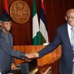 Acting President Yemi Osinbajo congratulates the new Chief Justice of Nigeria (CJN), Hon Justice Walter Onnoghen