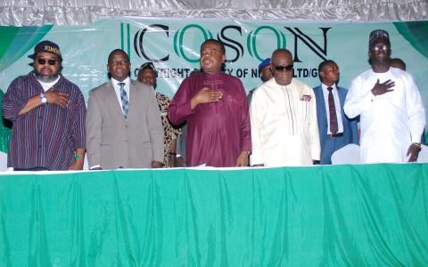 Ras Kimono ( L - R), Mr Charles Amudipe, Chief Tony Okoroji, Chief Moses Ekpo, and S.A to the Akwa Ibom Governor on Entertainment, Mr. David Sergeant
