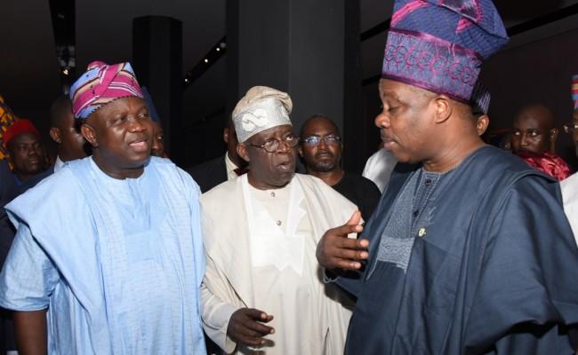 L-R: Lagos State Governor, Mr. Akinwunmi Ambode, with Asiwaju Bola Tinubu and Ogun State Governor, Sen. Ibikunle Amosun