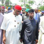 R-L: Lagos State Governor, Mr. Akinwunmi Ambode; Acting President, Prof. Yemi Osinbajo; Minister of Transportation, Hon. Rotimi Ameachi and Oyo State Governor, Sen. Abiola Ajimobi