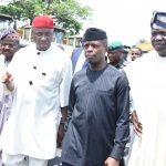 R-L: Lagos State Governor, Mr. Akinwunmi Ambode; Acting President, Prof. Yemi Osinbajo; Minister of Transportation, Hon. Rotimi Ameachi; Oyo State Governor, Sen. Abiola Ajimobi and Senator Adesoji Akanbi