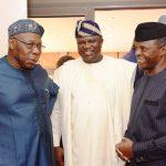 Acting President, Prof. Yemi Osinbajo (right); Lagos State Governor, Mr. Akinwunmi Ambode (middle) and former President, Chief Olusegun Obasanjo (left)