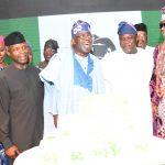 L-R: Wife of Oyo State Governor, Mrs. Florence Ajimobi; Wife of the Vice President, Mrs. Osinbajo, her husband, Prof. Yemi Osinbajo, the Celebrant, Asiwaju Bola Ahmed Tinubu; Lagos State Governor, Mr. Akinwunmi Ambode; Oba of Lagos, Oba Rilwan Akiolu I