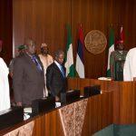 R-L; President Muhammadu Buhari, Vice President Yemi Osinbajo, SGF Engr Babachir David Lawal and Chief of Staff, Nal Abba Kyari