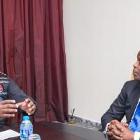 His Excellency Prof. Yemi Osinbajo SAN, listens to Captain Ademola Odujinrin
