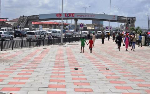 Newly constructed walkway at Jakande, along Lekki-Epe Expressway