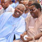 Ogun State Governor, Senator Ibikunle Amosun (left) and Juju music maestro, Evangelist Ebenezer Obey-Fabiyi