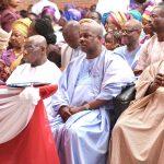 L-R Wife of former President, Mrs. Bola Obasanjo, former President, Chief Olusegun Obasanjo, Ogun State Governor, Senator Ibikunle Amosun and Juju music maestro, Evangelist Ebenezer Obey-Fabiyi