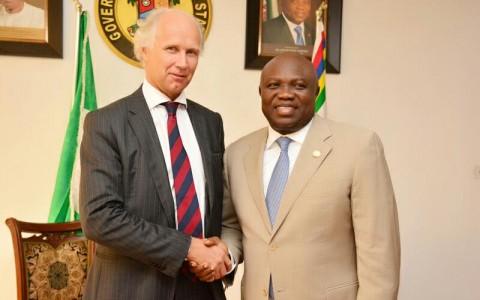 Lagos State Governor, Mr. Akinwunmi Ambode (right), with Norwegian Ambassador to Nigeria, Mr. Jens-Petter Kjemprud