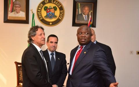 Lagos State Governor, Mr. Akinwunmi Ambode (right); Ambassador of Israel to Nigeria, Mr. Guy Feldman (middle) and Vice President, Business Development, West Africa, Dr. Haim Ayalon (left)