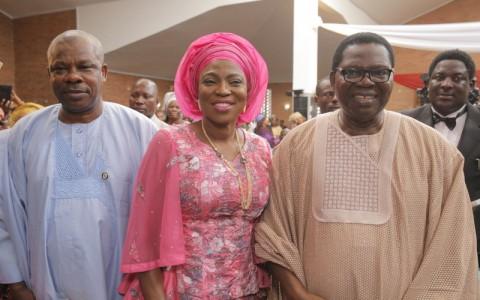 L-R: Ogun State Governor, Sen. Ibikunle Amosun; Wife of Lagos State Governor, Mrs. Bolanle Ambode and the celebrant, Evangelist Ebenezer Obey-Fabiyi