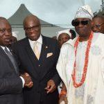 L-R: Lagos State Governor, Mr. Akinwunmi Ambode, with Managing Director, Providus Bank, Mr. Walter Akpani and Oba of Lagos, Oba Rilwan Akiolu I (right)
