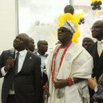 L-R: Lagos State Governor, Mr. Akinwunmi Ambode; Oba of Lagos, Oba Rilwan Akiolu I; Managing Director, Providus Bank, Mr. Walter Akpani and his wife, Winnie
