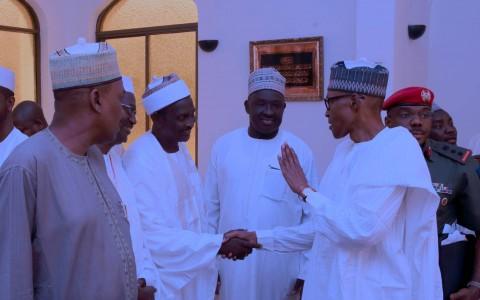 PRESIDENT BUHARI ATTENDS JUMA'AT PRAYER 1. President Muhammadu Buhari with SSAP Domestic and Social Events, Sarki Abba, Senator Mustapha Bukar and others after Juma'at prayer at the Aso Villa in Abuja. PHOTO; SUNDAY AGHAEZE. APRIL 21 2017..