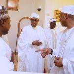 L-R; President Muhammadu Buhari, Senator Isah Hamma Misau, Senator Mustpha Bukar and President of the Senate, Dr Bukola Saraki