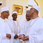 L-R; President Muhammadu Buhari, Senator Bashir Garbi, Senator Mustpha Bukar and President of the Senate, Dr Bukola Saraki