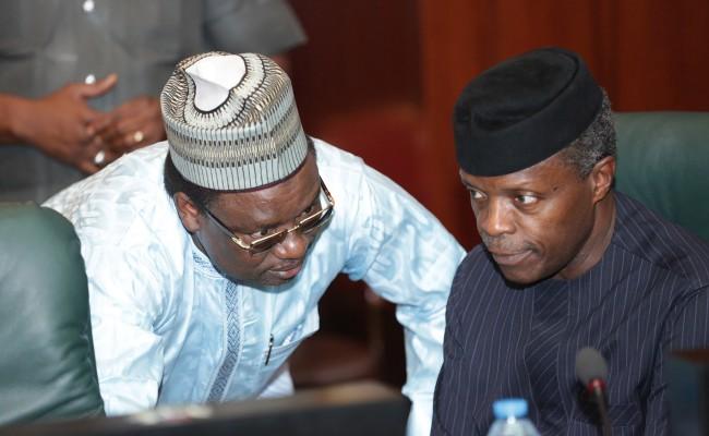 Vice President Yemi Osinbajo and SCOP Amb Lawal Kazaure during the FEC Meeting
