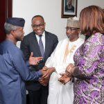 L-R; Acting President Yemi Osinbajo, NSIA MD/CEO, Uche Orji, Board Member, Bello Maccido and  Minister of Finance, Mrs. Kemi Adeosun