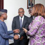 L-R; Acting President Yemi Osinbajo, NSIA MD/CEO, Uche Orji, Board Member, Mr Asue Ighodalo and  Minister of Finance, Mrs. Kemi Adeosun