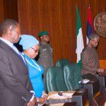 R-L; Acting President Yemi Osinbajo, Head f Civil Service, Winifred Oyo-Ita and NSA Major General Babagana Mongonu