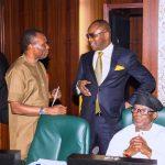 L-R; Minister of Niger Delta Mr. Usani Uguru Usani, Minister of State Petroleum, Dr. Emmanuel Ibe Kachikwu and Minister of State Niger Delta, Mr. Claudius Omoyele Daramola