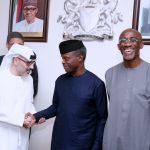 R-L; Chairman Etisalat Nigeria, Mr Hakeem Bello-Osagie, Acting President Yemi Osinbajo and Deputy CEO Etisalat, Waheed Al-Muhari