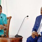 Lagos State Governor, Mr. Akinwunmi Ambode (right), with Senior Special Assistant to the President on Diaspora, Mrs. Abike Dabiri-Erewa