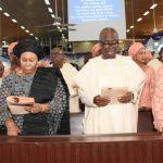 L-R: Lagos State Governor, Mr. Akinwunmi Ambode; Widow of Maj. Gen. Adeyinka Adebayo (rtd), Modupe; Son of the deceased & former Governor of Ekiti State, Otunba Niyi Adebayo; Daughter of the deceased, Mrs. Nike Makinde and her husband, Mr. Kunle Makinde