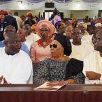 L-R: Lagos State Governor, Mr. Akinwunmi Ambode, with Widow of Maj. Gen. Adeyinka Adebayo (rtd), Modupe; Son of the deceased and former Governor of Ekiti State, Otunba Niyi Adebayo