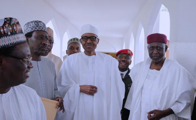 President Muhammadu Buhari (M) flanked by the Chief of Staff, Mallam Abba Kyari and NSA Maj Gen Babagana Mongonu