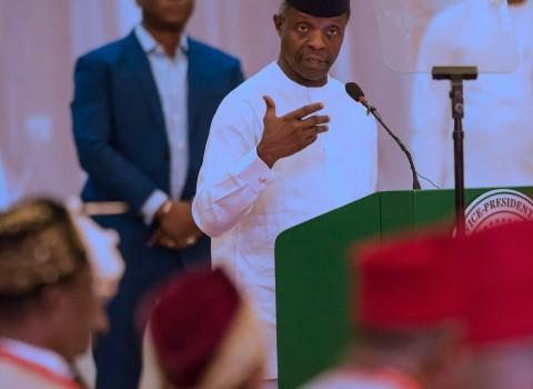 R-L; Acting Yemi Osinbajo addressing the traditional rulers