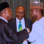 R-L; Adamawa State Governor,Alh Jibrilla Bindow, CBN Governor Godwin Emefiele, FCT Miinister Alh Muhammad Musa Bello