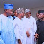 R-L;  Acting President Yemi Osinbajo, Hon Munir Babba Agundi, Alhaji Yusuf Ado Kibiya, Engr STephen Yakubu-Atar and AmBassador Jaiyeola Lemu