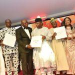 L-R: Governor Ibrahim Dankwambo of Gombe State; Governor Ayo Fayose of Ekiti State; Lagos State Governor, Mr. Akinwunmi Ambode; Acting President, Prof. Yemi Osinbajo; Oyo State Governor, Sen. Abiola Ajimobi; Deputy Governor of Osun State, Chief (Mrs) Titi Laoye-Tomori and Ogun State Governor, Sen. Ibikunle Amosun