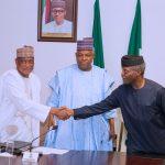 R-L; Acting President Yemi Osinbajo SAN, Borno State Governor, Alhaji Kashim Shettima and Minister of Defence, Brig Gen Mansur Dan Ali