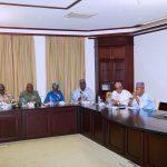 R-L; Acting President Yemi Osinbajo SAN, Borno State Governor, Ahl Kashim Shettima, Minister of Defence, Brig Gen Mansur Dan Ali, Minister of State Power, Alhaji Mustapha Baba Shehuri, Minister of State, Budget and National Planning Zainab Ahmed, Chief of Defence Staff, General Olonisakin Abayomi, Chief of Army Staff, LT General TY Buratai and The Chief of Air Staff, Air Marshal Sadiq Abubakar