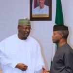 Acting President Yemi Osinbajo and Chairman INEC Nigeria Professor Mahmood Yakubu