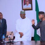 R-L; Acting President Yemi Osinbajo, Chairman INEC Nigeria Professor Mahmood Yakubu and Chairman of the Electoral Commission of Benin Republic