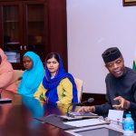 R-L; Acting President Yemi Osinbajo, Malala Yousafzai, Girl Adocate for Malala Fund and Gulamakai Champaions for Malala Fund, Habiba Mohammad