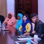 R-L; Acting President Yemi Osinbajo, Malala Yousafzai, Girl Advocate for Malala Fund, Gulamakai Champaions for Malala Fund, Habiba Mohammad and Rotimi Olewe