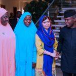 R-L; Acting President, Yemi Osinbajo, Malala Yousafzai, Girl Advocate for Malala Fund, Amina, and Gulmakai Champions Habiba Mohammad
