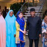 Acting President, Yemi Osinbajo (2ND Right) Minister of Women Affairs, Senator Aisha AlHassan, Malala Yousafzai, Girl Advocate for Malala Fund, Amina, and Gulmakai Champions Habiba Mohammad