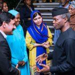 R-L; Acting President, Yemi Osinbajo chats with Malala Yousafzai, Girl Advocate for Malala Fund, Amina, and Father of Malala, Mr Ziauddin Yousafzai Shangla
