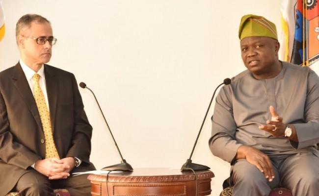 Lagos State Governor, Mr. Akinwunmi Ambode (right), making his remarks