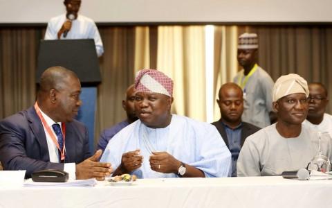 Lagos State Governor, Mr. Akinwunmi Ambode (middle), with Deputy Senate President, Sen. Ike Ekweremadu (left) and Deputy Speaker, House of Representatives, Hon. Lasun Yusuf (right)