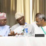L-R: Lagos State Governor, Mr. Akinwunmi Ambode, with Deputy Speaker, House of Representatives, Hon. Lasun Yusuf and Majority Leader, House of Representatives, Hon. Femi Gbajabiamila