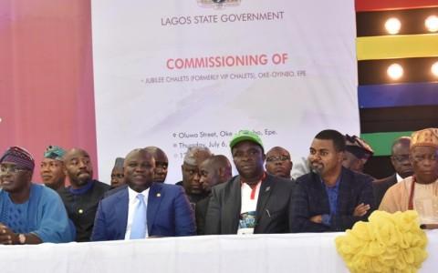 Lagos State Governor, Mr. Akinwunmi Ambode (2nd left); former Deputy Governor of Lagos State, Otunba Femi Pedro (left); members, Lagos State House of Assembly, Hon. Abiodun Tobun (middle); Hon. Olusegun Olulade (2nd right) and Oloja of Epe, Oba Kamorudeen Animashaun (right)