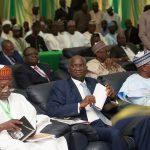 Hon. Minister of Power, Works & Housing, Mr Babatunde Fashola, SAN(middle) Chairman, Urban Shelter Ltd, Mallam Ibrahim Aliyu(left) and Governor of Bauchi State, Mr Muhammed Abdullahi Abubakar(right)